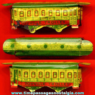 Scarce 1930's Cracker Jack Lithographed Tin Toyville Trolley Car Prize