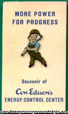 Con Edison Advertising Character Pin On The Original Card