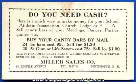 Old Miller Sales Company Candy Bar, Life Savers, & Gum Advertising Blotter
