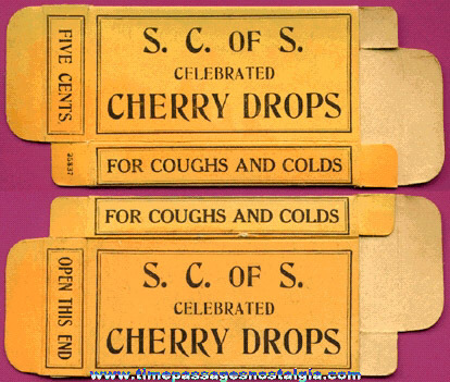 Old S. C. of S. Celebrated Cherry Cough Drops Advertising Box