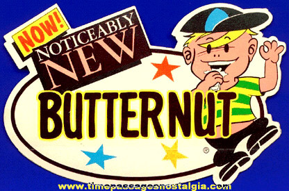 Old Unused Diecut Butternut Candy Bar Advertising Store Window / Door Decal