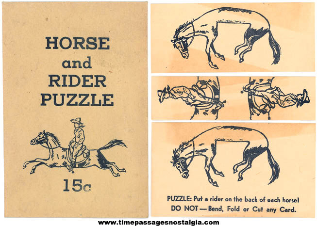 Old Premium Horse And Rider Puzzle With Envelope