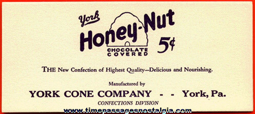 Old Unused York Honey - Nut 5c Candy Bar Advertising Ink Pen Blotter