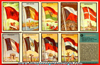 (10) Different 1963 Topps Flag Midgee Bubble Gum Trading Cards