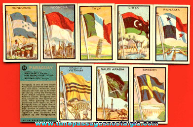 (9) Different 1963 Topps Flag Midgee Bubble Gum Trading Cards
