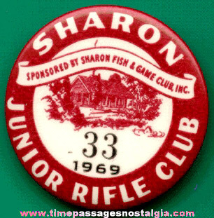 1969 Sharon (Massachusetts) Junior Rifle Club Pin Back Button