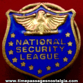 Old Enameled National Security League Stud Lapel Button