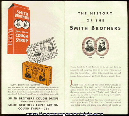 """THE HISTORY OF THE SMITH BROTHERS"" (4) page advertising flyer"