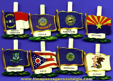 (8) Nabisco Shredded Wheat Cereal Lithographed Tin State Flag Tab Premiums / Prizes