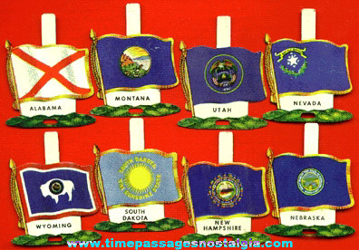 (7) Nabisco Shredded Wheat Cereal Lithographed Tin State Flag Tab Premiums / Prizes