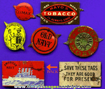 (6) Different Old Lithographed Tin Tobacco Tags