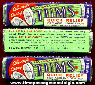 (3) Old Unopened Packages Of Tums Mint Medicine Candies