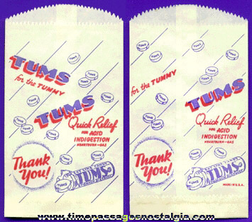 Old Unused Drug Store Advertising Tums Mint Medicine Candies Bag