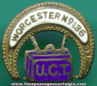 Old Enameled U.C.T. (United Commercial Travelers) Fraternal Screw Back Button