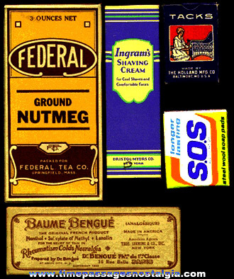 (5) Small Old Advertising Boxes