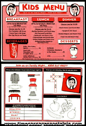 Big Boy Restaurant Advertising Kids  Placemat Menu
