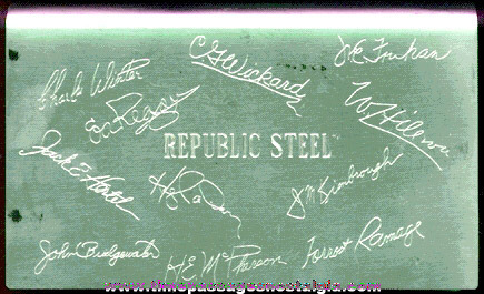 Old Republic Steel Advertising Cigarette / Cigar Box with Signatures