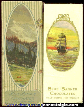 (2) Old Blue Banner 1/2 Pound Chocolates Candy Boxes