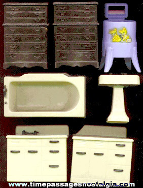 (7) Mixed Renwal Doll House Fixtures / Furniture