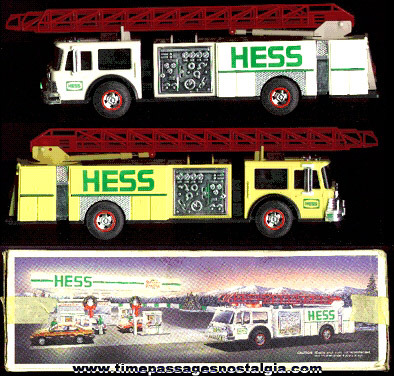 1989 Battery Operated HESS Advertising Toy Fire Truck With The Box