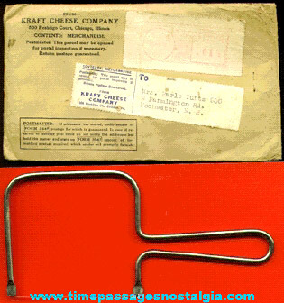 1940 Kraft Cheese Company Premium Cheese Slicer With The Mailer