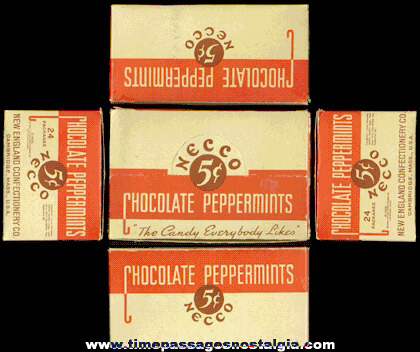RARE �1936 Display Box For The New England Confectionery Company AND (24) Individual Smaller Chocolate Peppermints Candy Boxes