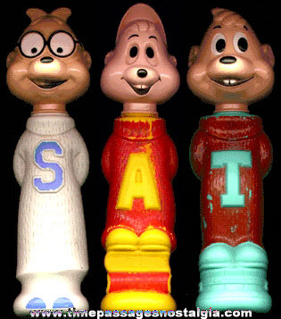 (3) 1960's CHIPMUNKS: Alvin, Simon, & Theodore Soaky Bubble Bath Figural Bottles