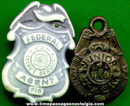 (2) Old Miniature Gum Ball Machine Toy Badges
