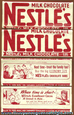 (2) Old Nestle's Milk Chocolate Candy Bar Wrappers
