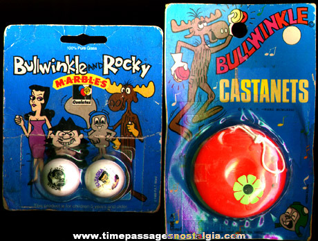 (2) Old Unopened Rocky & Bullwinkle Toys