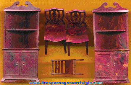 (5) Old Dollhouse Dining Room Furniture Pieces