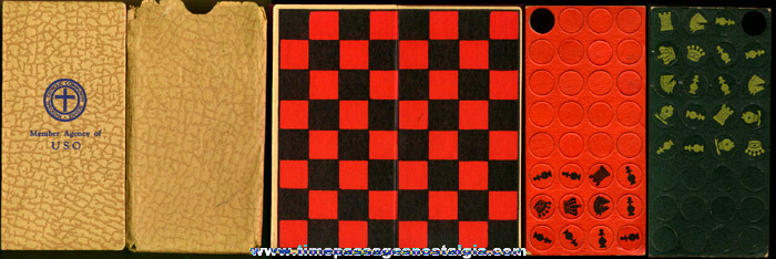 Old U.S.O. (WWII ?) Checkers / Chess Game Set