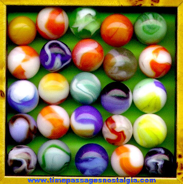 Mixed Lot Of (25) Colorful Old Machine Made Marbles