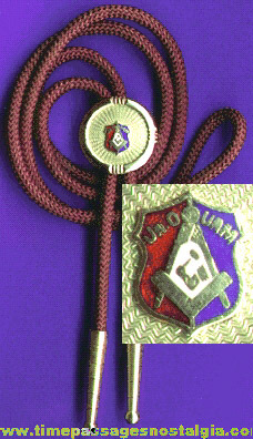 Old Junior Order of United American Mechanics Bolo Necktie With Enameled Slide