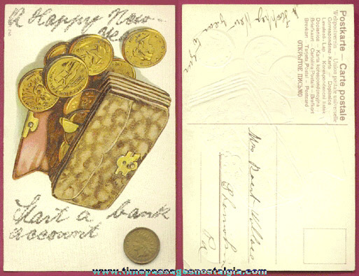 Unusual Old Embossed Happy New Year Post Card With Money