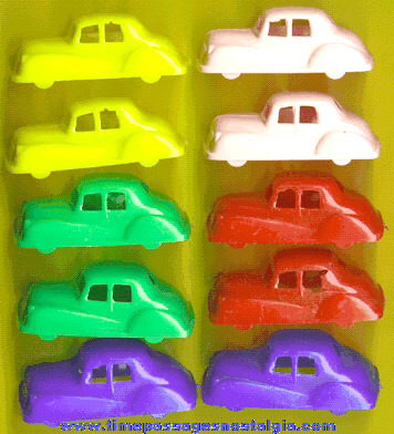 (10) Colorful 1950's Hard Plastic Toy Cars
