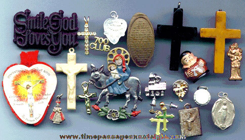 (20) Religious Medallions, Medals, Charms, Pins, Icons, Etc.