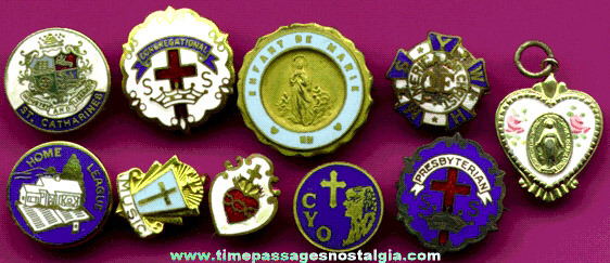 (10) Small Enameled Religious Pins