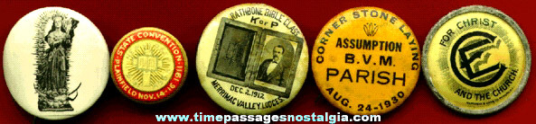 (5) Old Celluloid Religious Pin Back Buttons
