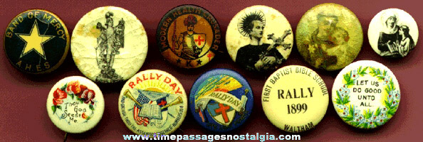 (11) Old Celluloid Religious Pin Back Buttons