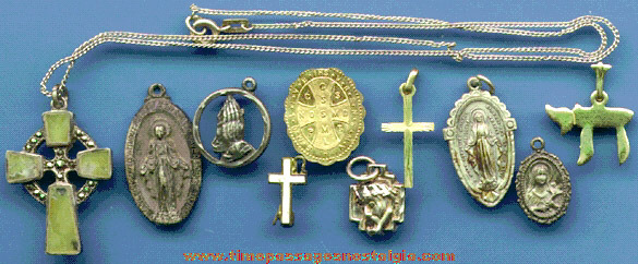 (10) Sterling Silver & Gold Religious Medallions, Medals, Charms, And Pins