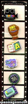 (6) Television Channel Logo Button Covers On A Filmstrip Card