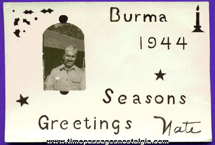 1944 World War II Serviceman Christmas Photograph From Burma