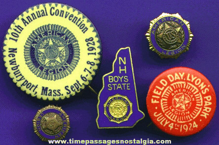 (5) Different Old American Legion Pins