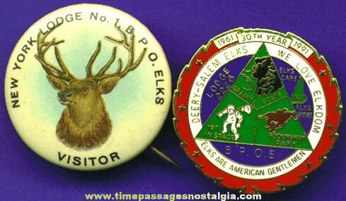 (2) Different Elks Fraternal Pins
