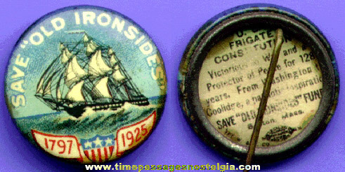 "1925 U.S. Frigate Constitution ""Old Ironsides"" Celluloid Pin Back Button"