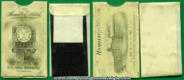 Old Hamilton Watch Celluloid Advertising Premium Postage Stamp Holder