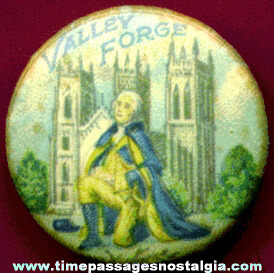 Old George Washington At Valley Forge Celluloid Pin Back Button