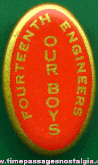 World War I (?) Oval Celluloid Pin Back Button
