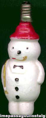 Old Snowman Christmas Light Bulb